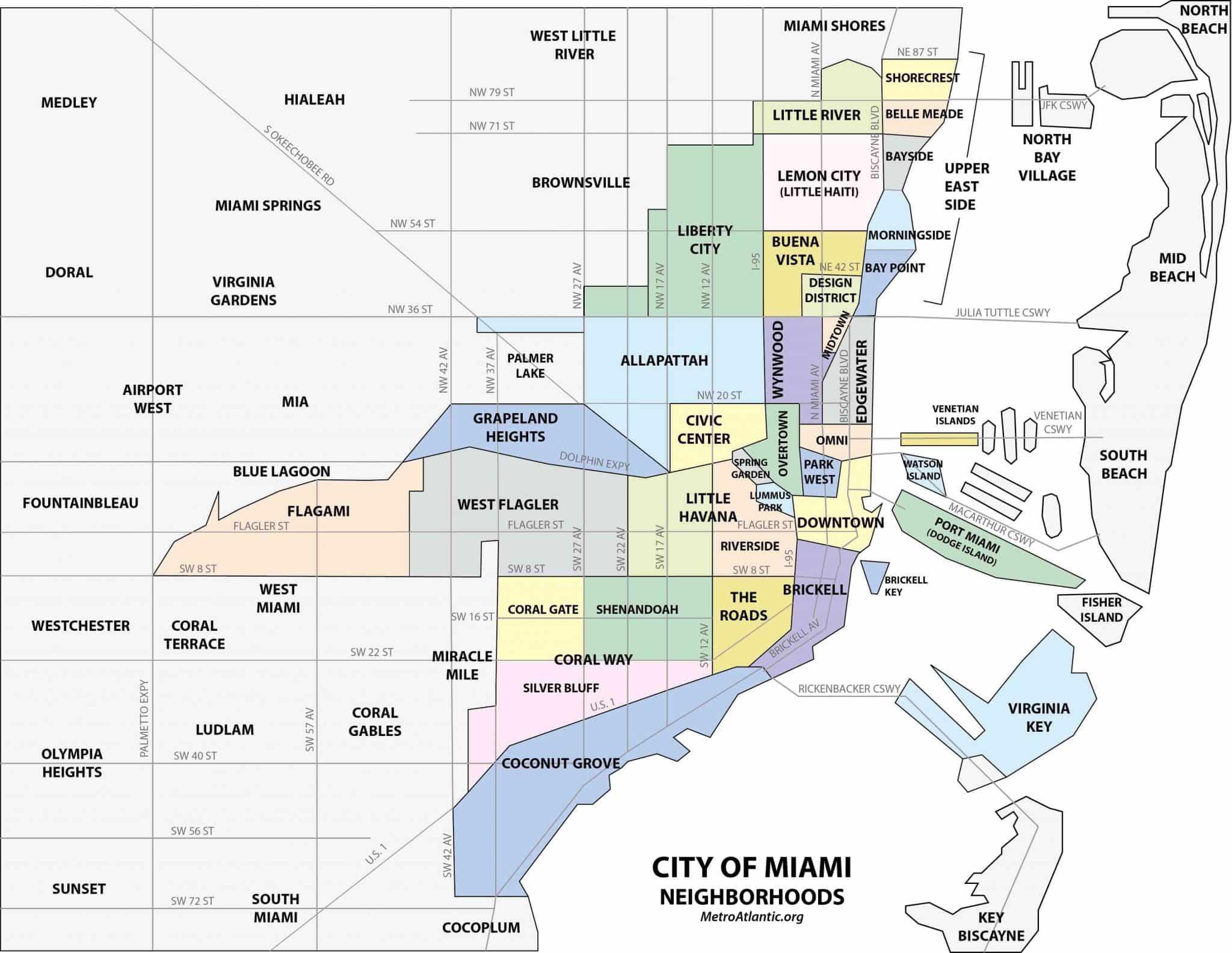 Dónde alojarte en Miami: Las mejores regiones: mapa de los barrios de Miami